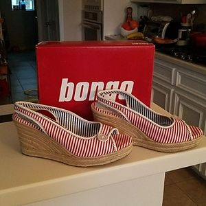 Bongo Shoes - Stripy Sandal Wedges